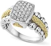 Lagos Sterling Silver and 18K Gold Caviar Ring with Diamonds