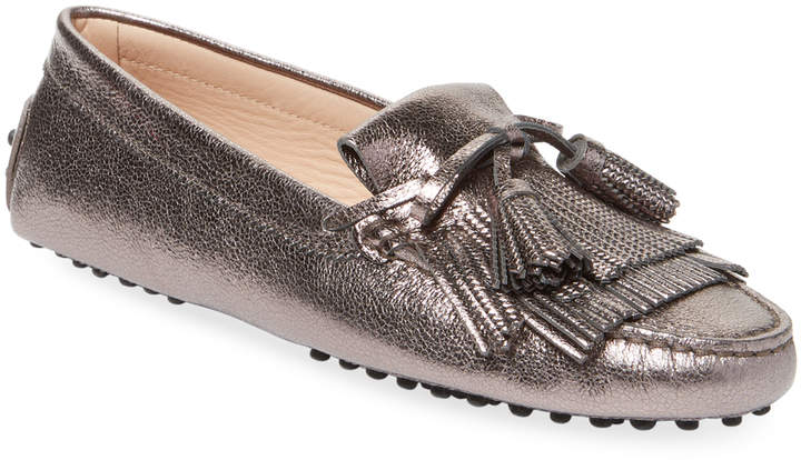 Tod's Women's Fringe Trim Leather Moccasins