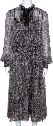 Dolce & Gabbana Multicolor Sequin Print Silk Chiffon Long Sleeve Midi Dress L