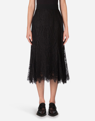 Dolce & Gabbana Long Chantilly Lace Skirt
