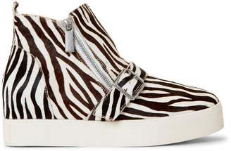 J/Slides Zebra Studdie Dual Zip Wedge Sneakers
