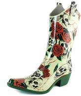 Women's DailyShoes Cowboy Black Solid Prints High Heel Rain Boots