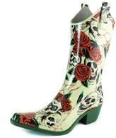 Women's DailyShoes Cowboy Black White Plaid Prints High Heel Rain Boots