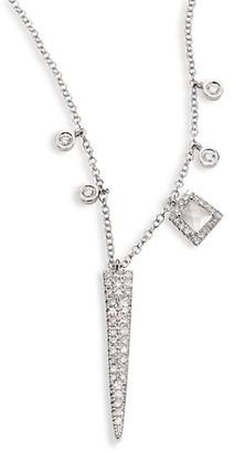 Meira T Dagger Diamond, White Topaz & 14K White Gold Pendant Necklace