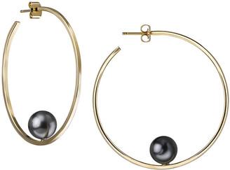 Janis Savitt Swarovski Floating Gray Pearl Yellow Gold Plated Hoop Earrings