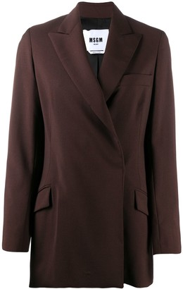MSGM Peak-Lapel Single-Breasted Blazer