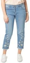Evans Plus Size Women's Embroidered Boyfriend Jeans