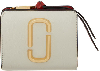 Marc Jacobs Beige and Navy Mini Snapshot Compact Wallet