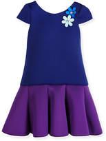 Zoë Ltd Cap-Sleeve Colorblock Scuba Dress, Royal/Purple, Size 2-6
