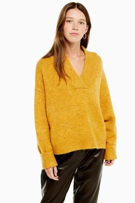 Topshop Womens Mustard Super Soft V Neck Jumper - Mustard