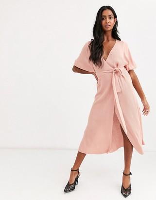 Asos Design DESIGN wrap midi dress in rib knit with volume sleeve-Pink