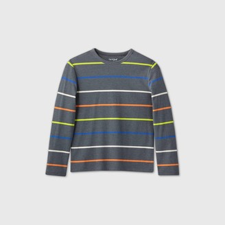 Cat & Jack Boys' Striped ong Seeve T-Shirt - Cat & JackTM Gray/Bue/Green