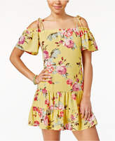 Teeze Me Juniors' Ruffled Floral-Print Off-The-Shoulder Dress