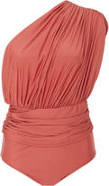 Lenny Niemeyer One Shoulder Draped Maillot Swimsuit