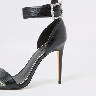 River Island Wide Fit Sparkle Buckle Heel Sandal - Black