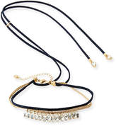 Lydell NYC Crystal Choker w/ Adjustable Suede Ties