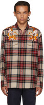 Gucci Multicolor Embroidered Check Shirt