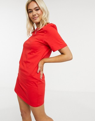 ASOS DESIGN padded shoulder short sleeve mini t-shirt dress in red