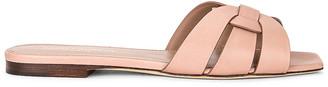 Saint Laurent Tribute Nu Pieds Flat Sandals in Beige Rose | FWRD