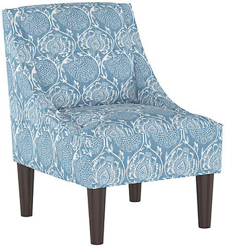 One Kings Lane Quinn Swoop-Arm Chair - Floral French Blue