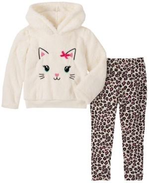 Kids Headquarters Toddler Girl 2-Piece Hooded Fleece Top with Animal Print Legging Set
