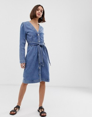 Selected button down denim dress with tie waist-Blue