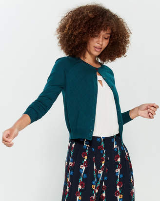 Emily And Fin Dark Green Tess Long Sleeve Pointelle Cardigan