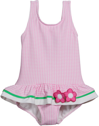 Florence Eiseman Girl's Gingham Floral One-Piece Swimsuit, Size 6-24M