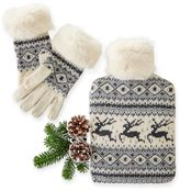 Fair Isle Glove with Fur Trim
