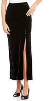 Alex Evenings Petite Button Detail Side Slit Velvet Skirt