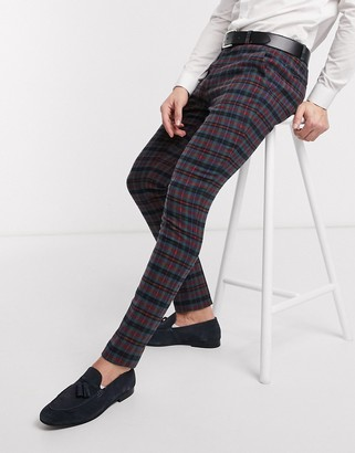 Asos DESIGN super skinny smart pants in wool mix blue check