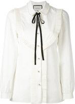 Gucci pleated trim blouse - women - Cotton - 38