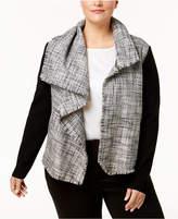 Anne Klein Plus Size Mixed-Media Draped Jacket