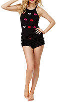 Betsey Johnson Lip-Print Crochet Racerback Tank & Ruffled Shorts Pajama Set