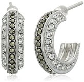 Judith Jack Sterling Silver/Swarovski Marcasite Crystal Hoop Earrings