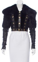 Temperley London Shearling-Leather Trimmed Cropped Jacket