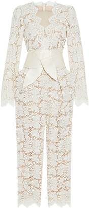 Stella McCartney Pearl Cropped Belted Cotton-blend Corded Lace Jumpsuit