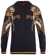 Dolce & Gabbana Animal-intarsia Hooded Wool Sweater