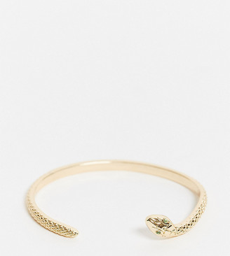 ASOS DESIGN Curve cuff bracelet with thin snake detail in gold tone