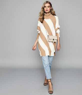 Reiss ALBA DIAGONAL STRIPED CHUNKY JUMPER Camel