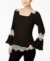 NY Collection Lace-Trim Peasant Top