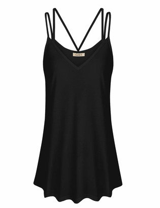 Cyanstyle Spaghetti Strap Tank Top Women Sleeveless V Neck Summer Long Camisole Wide Hem Simple Loose Fitting Light Weight Casual Cami Elegant Cotton Blouses for Work Black M