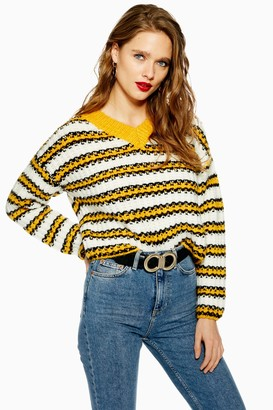 Topshop Knitted Stripe Crop V-Neck Sweater