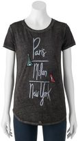 "Juniors' THE PRINT SHOP ""Paris, Milan, New York"" Graphic Tee"