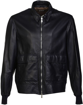 Brunello Cucinelli Ribbed Trim Leather Jacket