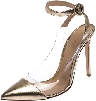 Gianvito Rossi Gold Metallic PVC and Leather Anise Pointed Toe Ankle Strap Sandals Size 38