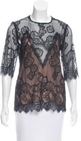 Sandro Lace & Mesh Top