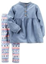 Carter's 2-Piece Chambray Top and Aztec Print Leggings Set