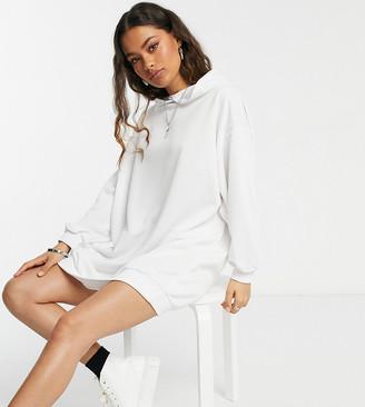 ASOS DESIGN Petite mini sweatshirt hoodie dress in white