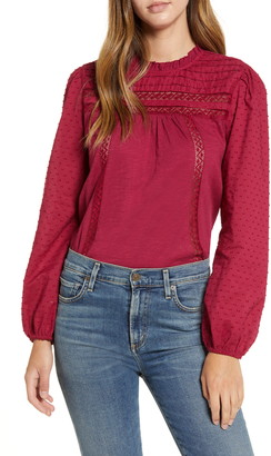 Caslon Pintuck Lace Detail Long Sleeve Cotton Blouse
